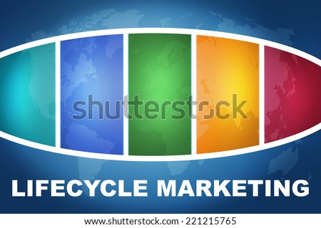 Lifecycle Marketing text illustration concept on blue background with colorful world map - stock photo