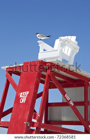 lifeguard chair at beach with seagull - stock photo
