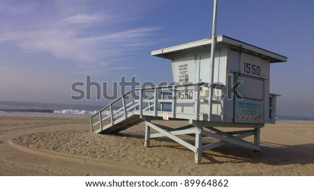 Lifeguard house on a sandy beach in California - stock photo