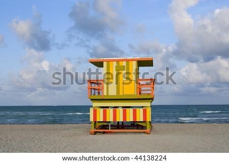 Lifeguard houses protected beaches in Miami Beach Florida - stock photo