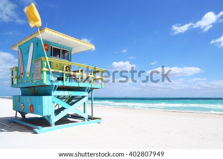 Lifeguard hut in a deserted beach. South Beach, Florida - stock photo