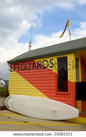 Lifeguard Hut in Southwold England - stock photo