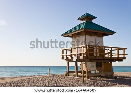 Lifeguard hut in Sunny Isles Beach, Florida - stock photo