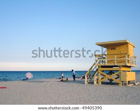 Lifeguard hut on Miami Beach - stock photo
