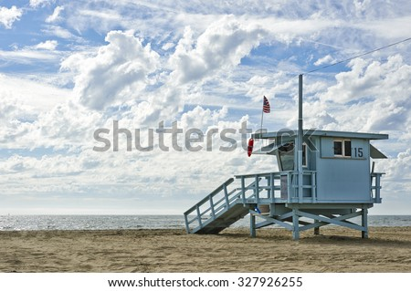 Lifeguard hut on the beach on a picturesque day - stock photo