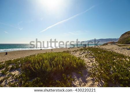 Lifeguard hut on the Malibu beach. - stock photo