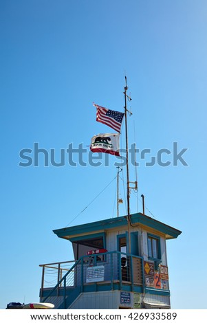 Lifeguard hut on the Malibu beach. California - stock photo