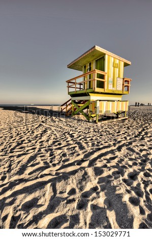 Lifeguard lookout point miami beach - stock photo