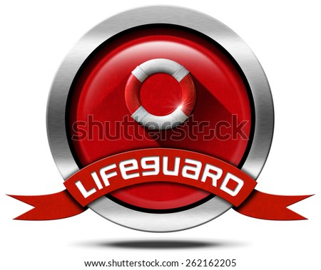 Lifeguard - Metal Icon with Lifebuoy. Round metal icon with red and white lifebuoy on red velvet background and red ribbon with text lifeguard. Isolated on white background - stock photo