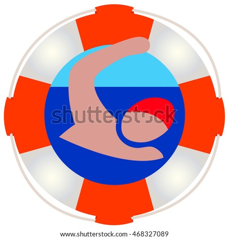 Lifeguard or Safety for Swimming, isolated symbol with copy space on white