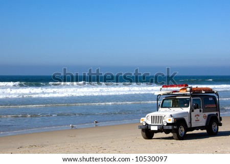 Lifeguard patrolling the beaches in southern California - stock photo