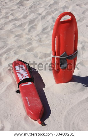 Lifeguard rescue equipment on beach - stock photo