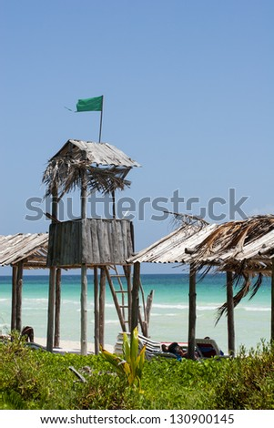 lifeguard's beach lookout on Cayo Coco beach, Cuba - stock photo