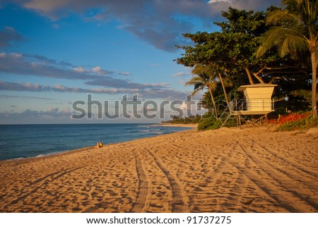 "Lifeguard Shack in a Golden light at the ""Sunset Beach"", Oahu, Hawaii Islands - stock photo"