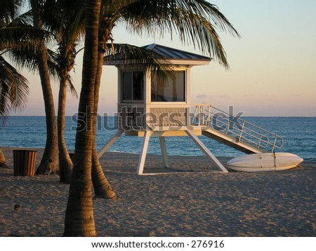 Lifeguard stand at sunrise, Fort Lauderdale Beach. - stock photo
