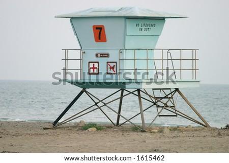 Lifeguard stand in California - stock photo