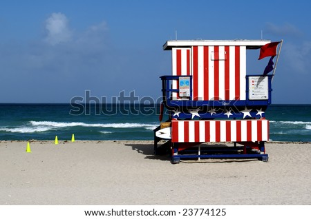 Lifeguard Stand In South Beach Miami, Florida. - stock photo