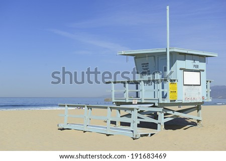 Lifeguard Stand in the sand, Venice Beach, California - stock photo