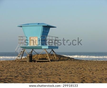 Lifeguard Stand on Beach - stock photo