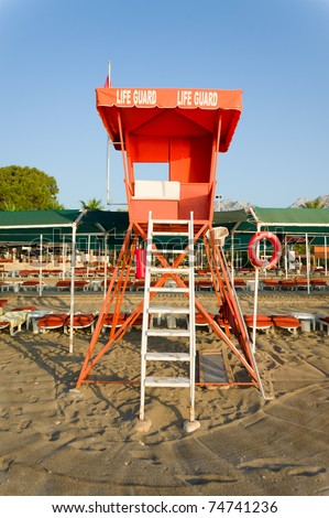 lifeguard stand overlooking the beach - stock photo