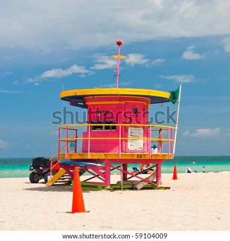 Lifeguard stand, South Beach, Miami, Florida - stock photo