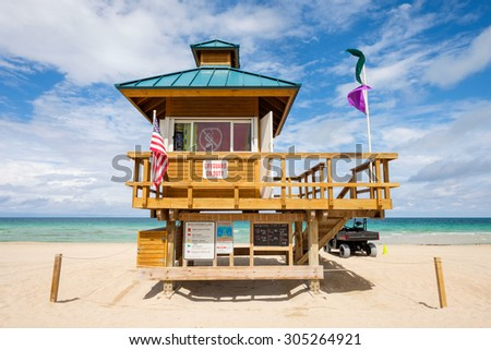 Lifeguard station along beautiful Sunny Isles Beach in North Miami. - stock photo