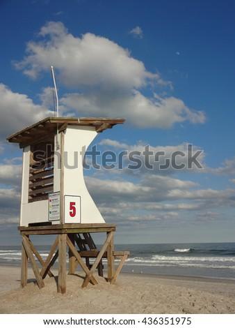 Lifeguard Station at Wrightsville Beach in North Carolina - stock photo