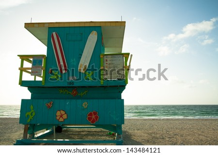 Lifeguard station in South Beach Miami Florida just past sunrise - stock photo