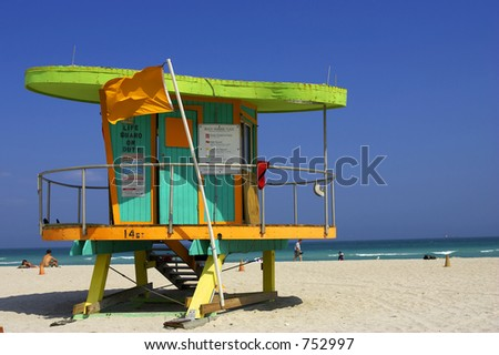 Lifeguard station, miami beach, florida, america, usa - stock photo