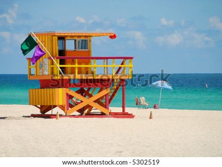 Lifeguard station on Miami Beach - stock photo