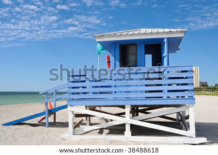 Lifeguard Station on the Beach - stock photo