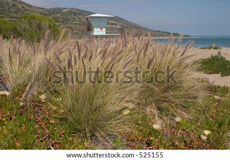 Lifeguard Station on the Beach - stock photo
