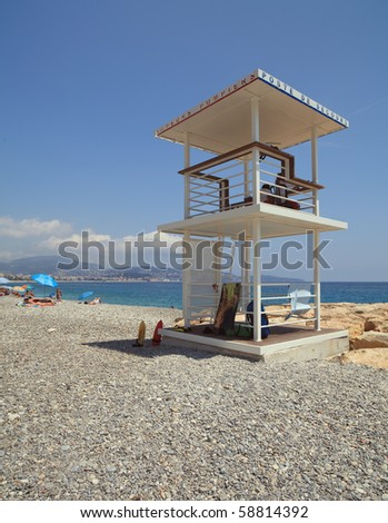 Lifeguard station on the French Riviera in Nice, France. - stock photo