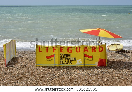 Lifeguard station on the shingle beach at Brighton, East Sussex, England