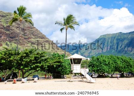 Lifeguard station with typical Hawaiian scenery - stock photo