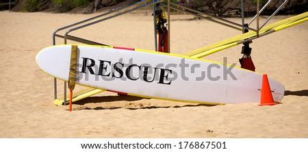 Lifeguard surfboard in Maui Hawaii - stock photo
