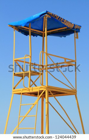 Lifeguard tower among clear blue sky