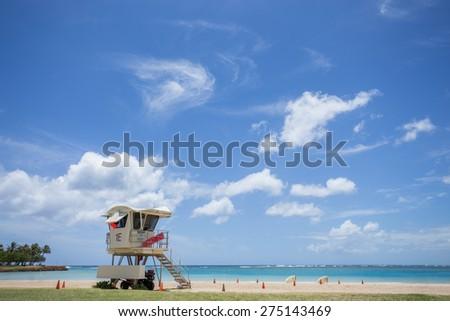 Lifeguard tower at Ala moana beach park, Honolulu Hawaii - stock photo