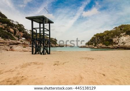 Lifeguard-Tower at Beach of Cala Llombards / Majorca - stock photo