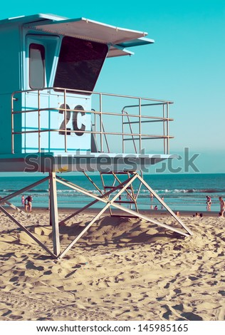 Lifeguard Tower at the Beach in San Diego, California, Vintage  - stock photo