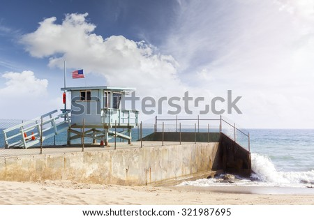 Lifeguard tower in Santa Monica, California, USA. - stock photo