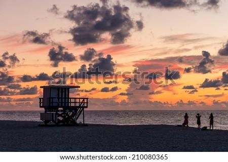Lifeguard Tower in South Beach at sunrise, Miami Beach, Florida - stock photo