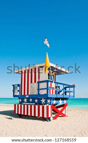 Lifeguard Tower in South Beach, Miami Beach, Florida - stock photo