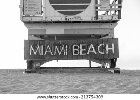 Lifeguard Tower in South Beach, Miami Beach, Florida in Black and white - stock photo