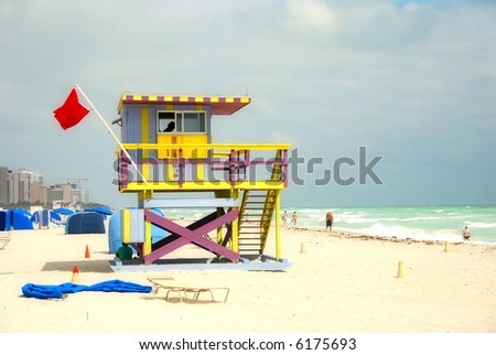 Lifeguard tower in South Florida - stock photo