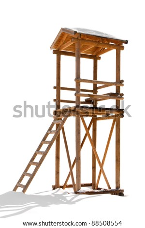 lifeguard tower made of wood isolated on white background - stock photo
