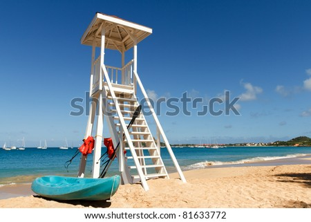 Lifeguard tower on a beach in St Lucia - stock photo