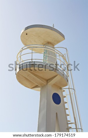 Lifeguard tower on beach - stock photo