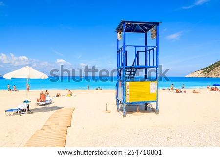 Lifeguard tower on beautiful Myrtos beach, Kefalonia island, Greece - stock photo