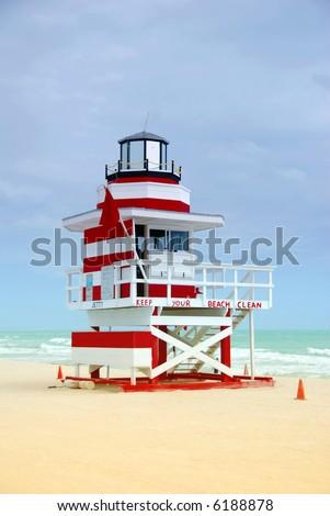 Lifeguard tower on Miami Beach - stock photo